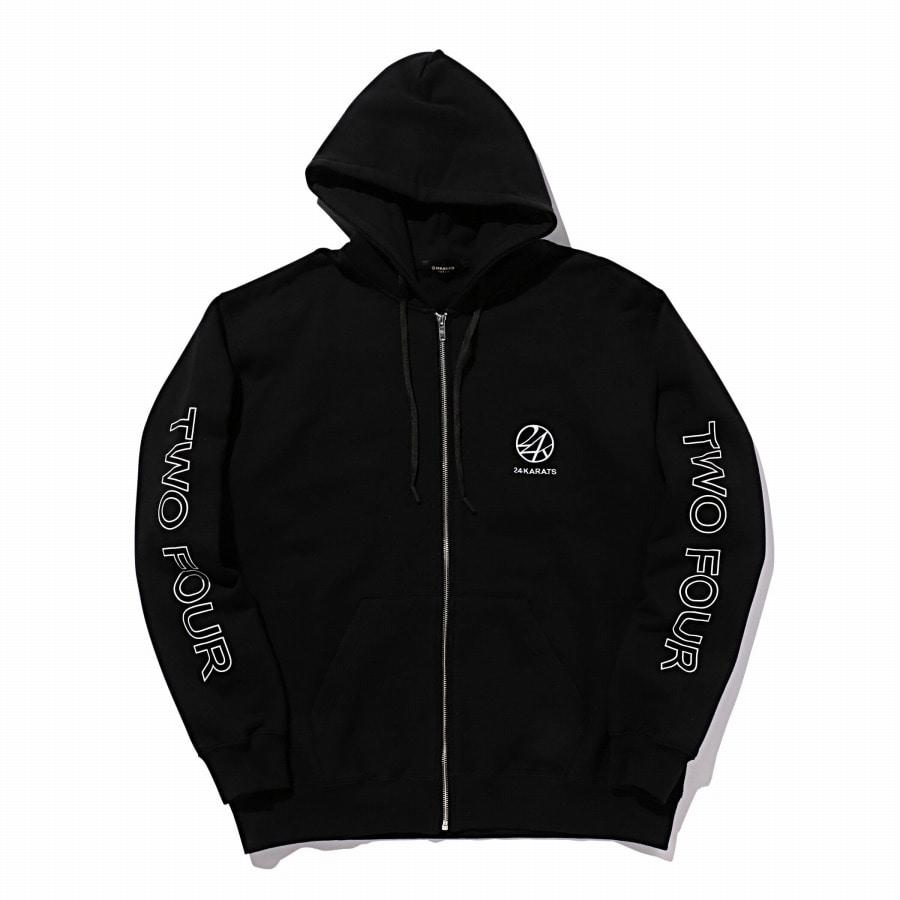 Two Four Basic Zip Hoodie 詳細画像 Black 1