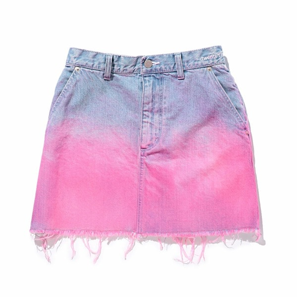 Gradation Print Denim Mini Skirt