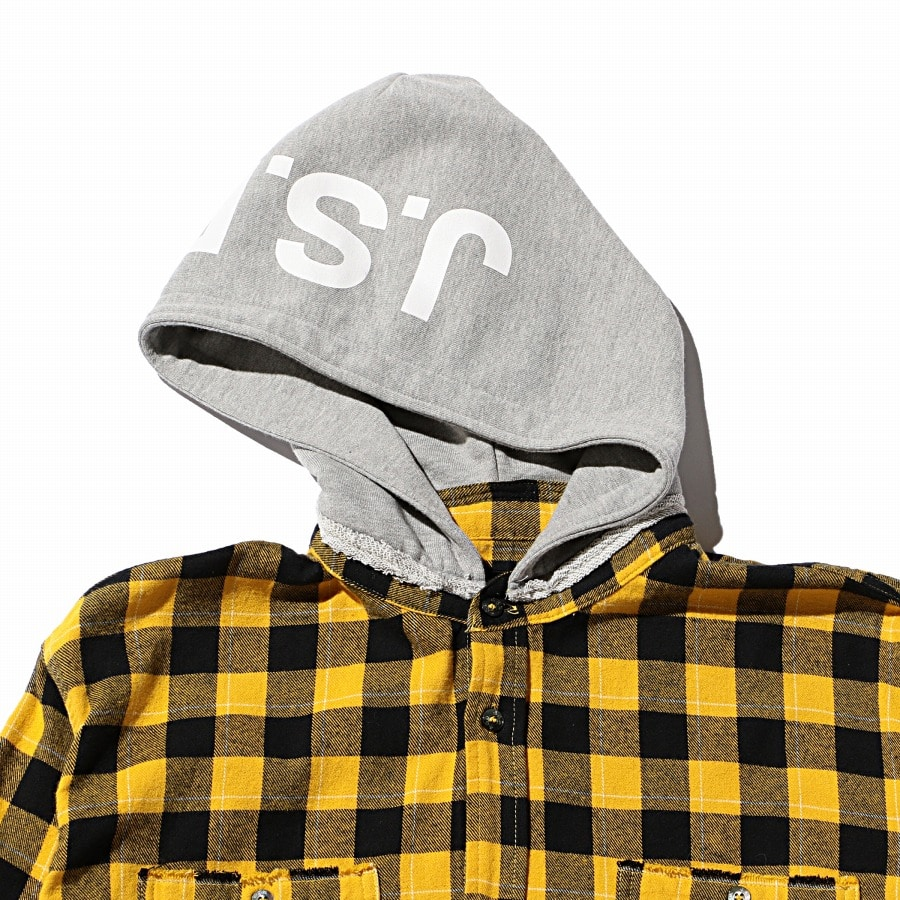 Hoodie Check Flannel Shirt 詳細画像 Yellow 2