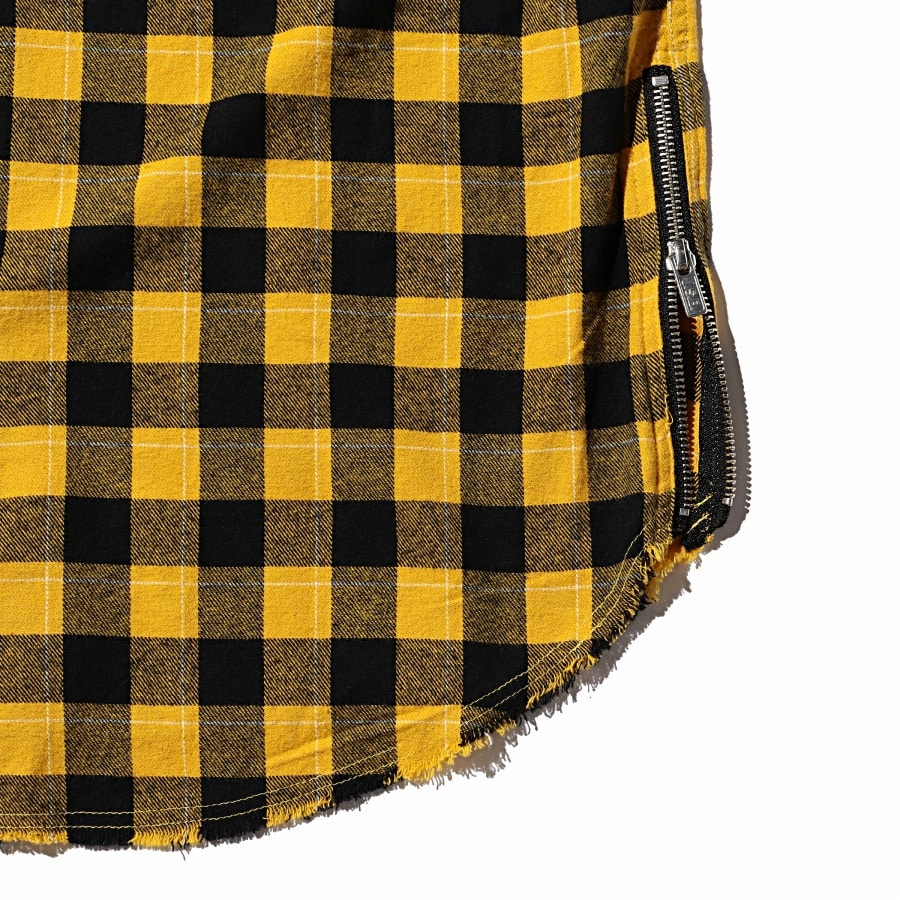 Hoodie Check Flannel Shirt 詳細画像 Yellow 5