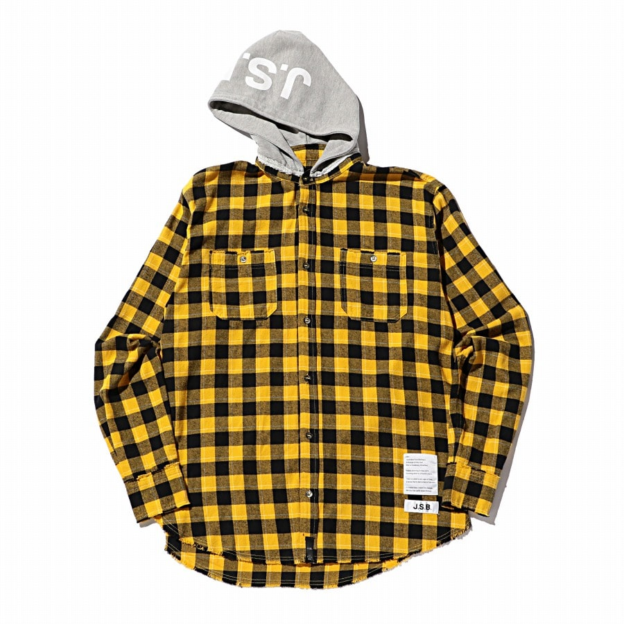 Hoodie Check Flannel Shirt 詳細画像 Yellow 1