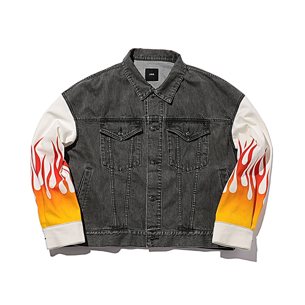 Fire Pattern Denim Jacket