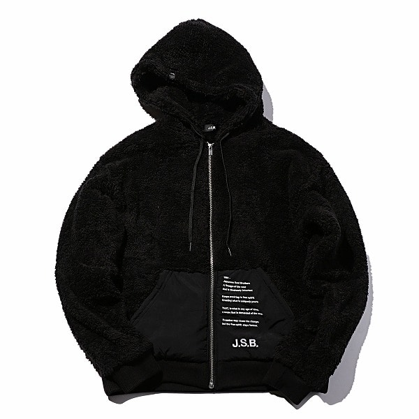 Embroidered Boa Zip Parka