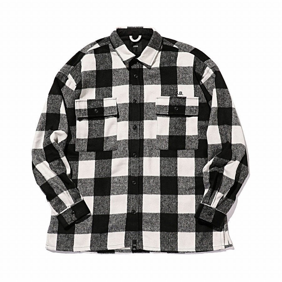 Logo Check Shirt Jacket 詳細画像 Black 1