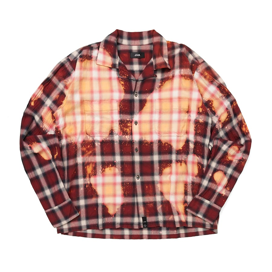 ReMake Open-collared LS Shirt 詳細画像 Red 1